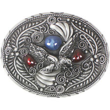 Western Design Eagle Belt Buckle Red Blue Glass colors Patriotic USA