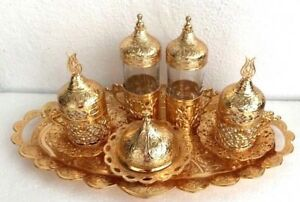 Turkish Coffee Water Tea Mix Set, Porcelain Glass Ottoman Tulip Holder Gold