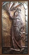VINTAGE RUSSIAN HAND MADE WALL HANGING COPPER PLAQUE QUEEN