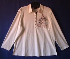 Samoon Shirt Gerry Weber gedecktes weiß Poloshirt Jersey Damen Polo Gr.46