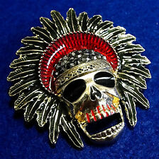 SKULL Native Chief BIG Rhinestone Retro Collector Halloween Necklace BLACK