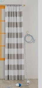 "PillowFort Light Blocking Curtain Panel  95"" H x 42"" W  Grey & White Striped"