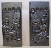 Old Pair Cast Iron Tavern Scene Fireplace Plaques Decorative Art High Relief AH