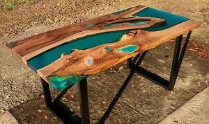 Epoxy Handmade Coffee Table Olive Wood and Epoxy Resin Ruby Green Blue Design