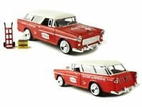 1955 Chevy Belair Nomad Coca Cola Red 1:24 Die cast Model with hand cart 424110