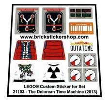Precut Custom Sticker voor Lego Set 21103 - The Delorean Time Machine (2013)