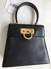 Salvatore Ferragamo Gancini Vara 2way Hand Bag Strap Kelly Black Leather Vintage