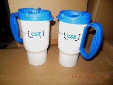 WHIRLEY DRINKS CSX TRAIN MUGS / 12 OZ. / (2) - MUGS / HOT OR COLD