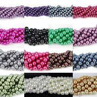 Gros Lot Perle Verre Ronde Nacrée Perles Pour Bracelet Bijoux Collier 4-10MM