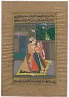 Hand Painted Mughal Miniature Painting Indian King & Queen Love Scene On Paper