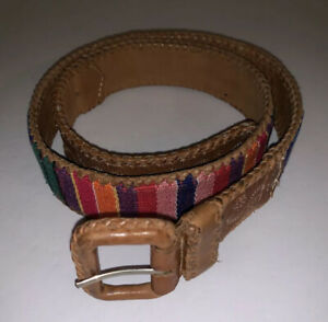 Vintage Guatemala Made Belt Folk Art Leather Medium M Multi Color Woven Cotton