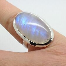 rainbow moonstone oval ring, uk size M, Solid Sterling Silver, Lovely Colour.