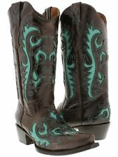 Womens Brown Inlay Western Cowgirl Boots Distressed Leather Snip Toe