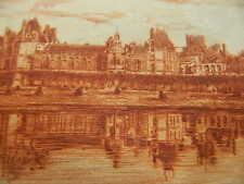 Original  Etching of Fontainebleau in France signed byTegal in pencil