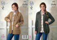 King Cole Ladies Chunky Knitting Pattern Cable or Plain Jacket with Pockets 4721