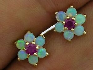 s E058 Genuine 9ct Yellow Gold Natural Opal & Ruby Blossom Stud Earrings Cluster
