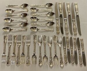 LOUIS XV BY GORHAM WHITING STERLING SILVER FLATWARE SET FOR 6 - 36 PIECES
