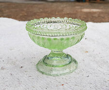 1940's VINTAGE BEAUTIFUL UNIQUE DESIGN ENGRAVED GREEN GLASS CARNIVAL BOWL, JAPAN