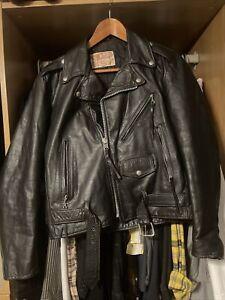 Vintage Excelled Black Leather Biker Jacket Men's Size 38 Small - USA