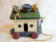 "NOAHS ARK FIGURINE Wood Pull Toy 7"" H x 8"" x 6"" Wheels Elephant Giraffe Dove"