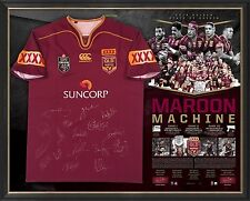 QUEENSLAND STATE OF ORIGIN SIGNED JERSEY FRAMED THURSTON OFFICIAL 2016 WINNERS