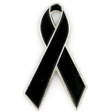 PinMart's Black Awareness Ribbon  Enamel Lapel Pin