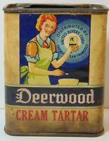 Rare Old Vintage 1930s DEERWOOD WOMAN GRAPHIC SPICE TIN SAN FRANCISCO CALIFORNIA