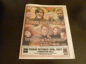Three Days Grace Breaking Benjamin 2007 Concert Poster Ad Asbury Park NJ