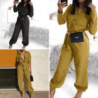 Mode Femme Combinaison Couleur Unie Simple Manche Longue Ceinture Pantalon Plus