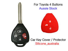 4 Button Red Silicone Car Key Cover Protector Toyota Corolla Hilux Yaris Camry