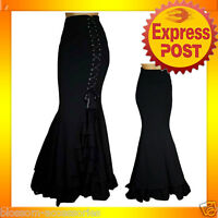 RK67 Black Long Mermaid Fishtail Ruffles Skirt Punk Gothic Retro Rockabilly PLUS