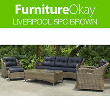 Liverpool 5pc Outdoor Garden Lounge Sofa Couch Brown Wicker Furniture Setting