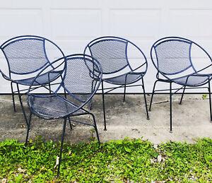 4 Maurizio Tempestini for Salterini Radar Patio MCM Garden Chairs Black Iron