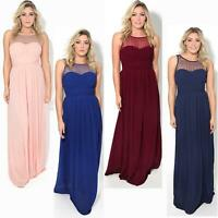 Womens Long Pleated Maxi Dress Mesh Neck Ladies Wedding Evening Party Prom Gown
