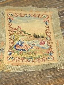 Antique Miniature Dollhouse Artisan French Needlepoint Wall Tapestry