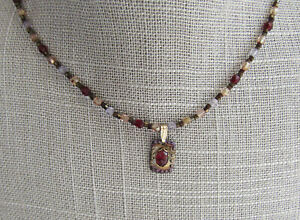 "Garnet pendant artisan made 16"" necklace, Holly Yashi tag, gold filled clasp"