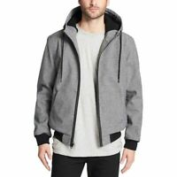 Levis Midweight Softshell Jacket Mens Medium Gray Faux Sherpa Lined Hooded $180