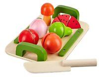Mias Holzobst Früchte zum schneiden Klettverschluß Holz Obst Brett Messer Set