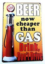 BEER CHEAPER THAN GAS RETRO METAL TIN SIGNS vintage cafe pub bar garage