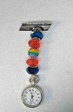 RAINBOW bead , bright Watch nurse fob uniform pocket  pin