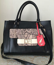 NWT DVF black leather EVA small tote EMB snake chalk roccia purse bag $395