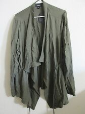 New Women's Torrid Olive Green Long Sleeve Drape Wrap Top Cinch Waist 2X Size 2