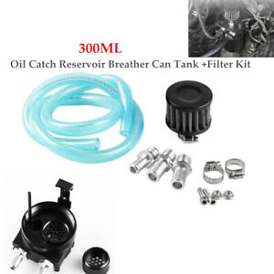 300ML Auto Oil Catch Reservoir Breather Can Tank+Filter Cylinder Aluminum Engine