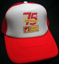 FOSTER FARMS CHICKEN trucker snapback hat cap red 75th anniversary farm fresh
