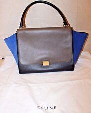 Celine Large Trapeze Handbag In Black Gray & Blue Calfskin & Suede