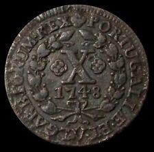 1748 PORTUGAL COPPER 10 REIS CHOICE EXTRA FINE
