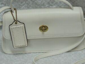 Vintage Coach Leather Geometric Convertible Clutch Crossbody Purse white purse