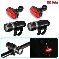 2x Sets LED Lamp Bike Bicycle MTB Front Head Light + Rear Safety Flashlight V4J8