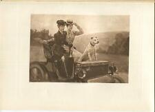 ANTIQUE VICTORIAN PRETTY WOMAN PIT BULL DOG DRIVING DRIVE IN A MOTOR CAR PRINT