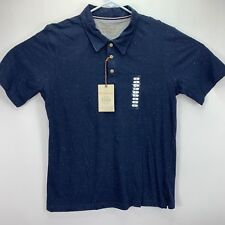 Weatherproof Vintage Mens Speckled Short Sleeve Polo Shirt Navy Blue L